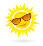 Cheerful, smiling cartoon sun in sunglasses on white background.