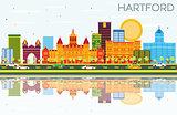 Hartford Skyline with Color Buildings, Blue Sky and Reflections.