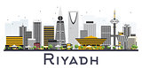 Riyadh Saudi Arabia City Skyline with Gray Buildings Isolated on