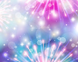 Festive background of fireworks fireworks blue and purple