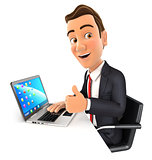 3d businessman working on laptop with thumb up