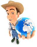 3d farmer holding blue earth