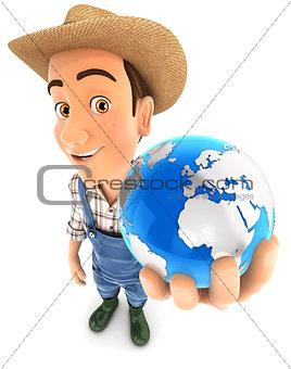 3d farmer holding blue earth