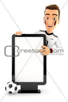 3d german soccer fan pointing to blank billboard