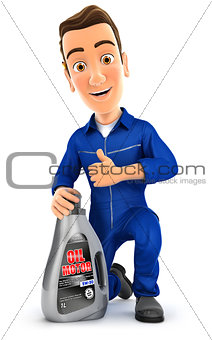 3d mechanic with oil motor canister and thumb up