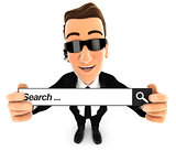 3d security agent holding a search bar