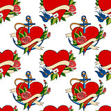 Seamless pattern, old school tattoo style hearts