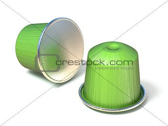Green coffee capsules 3D