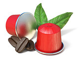 Red coffee capsules with coffee beans and leaves 3D