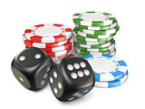 Stacks of red, green, blue gambling chips and black dices 3D