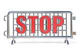 Steel barricades STOP sign 3D