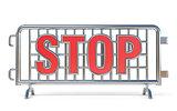 Steel barricades STOP sign 3D