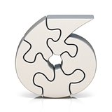 White puzzle jigsaw number SIX 6 3D