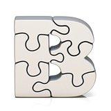 White puzzle jigsaw letter B 3D