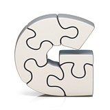 White puzzle jigsaw letter G 3D
