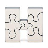 White puzzle jigsaw letter H 3D