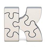White puzzle jigsaw letter K 3D
