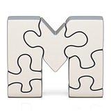 White puzzle jigsaw letter M 3D