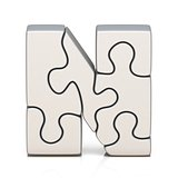White puzzle jigsaw letter N 3D