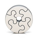 White puzzle jigsaw letter O 3D