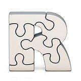 White puzzle jigsaw letter R 3D