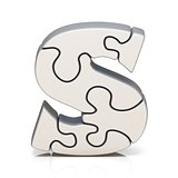 White puzzle jigsaw letter S 3D