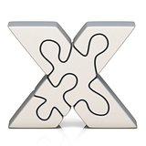 White puzzle jigsaw letter X 3D
