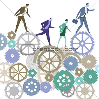 Business people in competition, symbol illustration