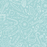 Seamless texture with cute white christmas elements on blue background. Hand drawn vector illustration