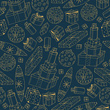 Hand drawn seamless winter pattern. Happy new year background. Doodle design
