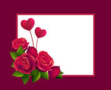 Red rose bouquet and two heart shape. Template greeting card for valentines day