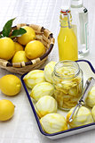 homemade limoncello, italian traditional lemon liqueur