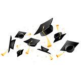 Flying academic mortarboard - graduation, throw of student hats