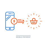 Mobile payment - smartphone and shopping cart, online purchase