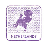 Netherlands postal stamp - outline of Holland counrty