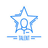 Got talent - emblem with man and star, celebrity symbol