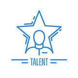 Got talent - emblem with man and star, celebrity symbol