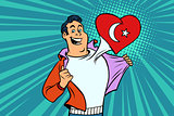 Turkey patriot male sports fan flag heart