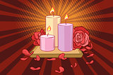 Romantic candles and rose petals