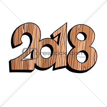 2018 new year wooden figures