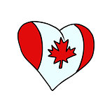Canada isolated heart flag on white background