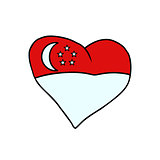 Singapore isolated heart flag on white background
