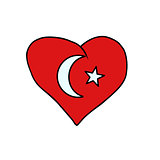 Turkey isolated heart flag on white background