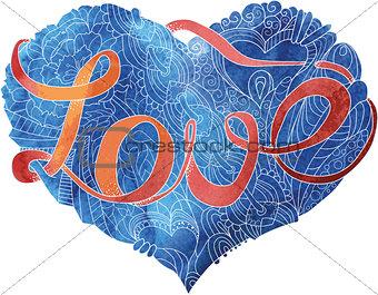 Sketchy doodle blue heart illustration