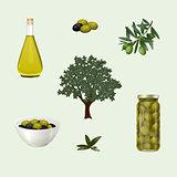 set: olive wood, oil, bowl, branch