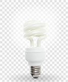 Lighting Powersave lamp on transparent Background. Vector Illustration.
