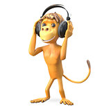 3D Illustration Monkey in the Headphones