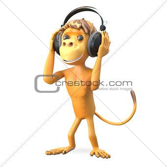 3D Illustration Monkey in the Headphones
