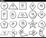 black and white cartoon basic geometric shapes