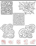maze leisure game graphics set with solutions